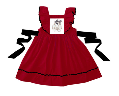Red and Black Bulldog Tie Back Dress