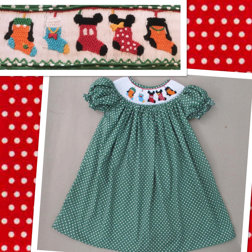 Christmas Mouse Friends Bishop Dress (Small Green Dot)