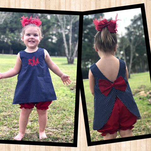 Navy and Red Bloomer Set