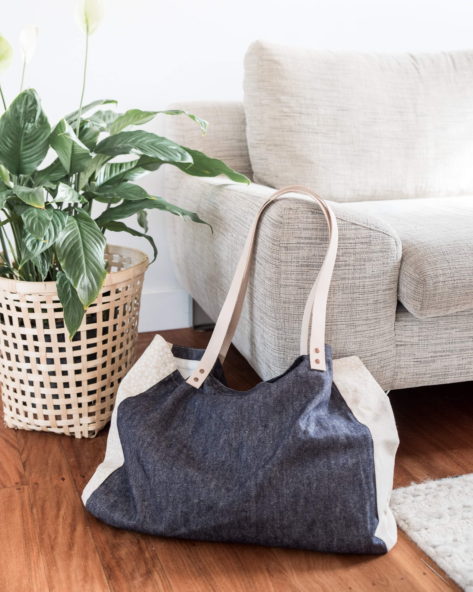 Denim Beach Tote - Weave and Willow