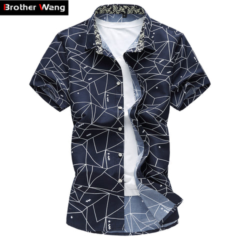 Mens Summer New Shirt Fashion Plaid Printing Casual Short Sleeve Shirt