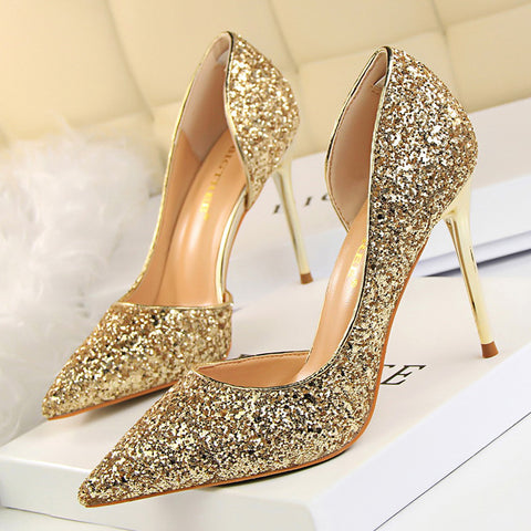 Womens Pumps Sexy Glisten Shoes Wedding Party Dress Heels