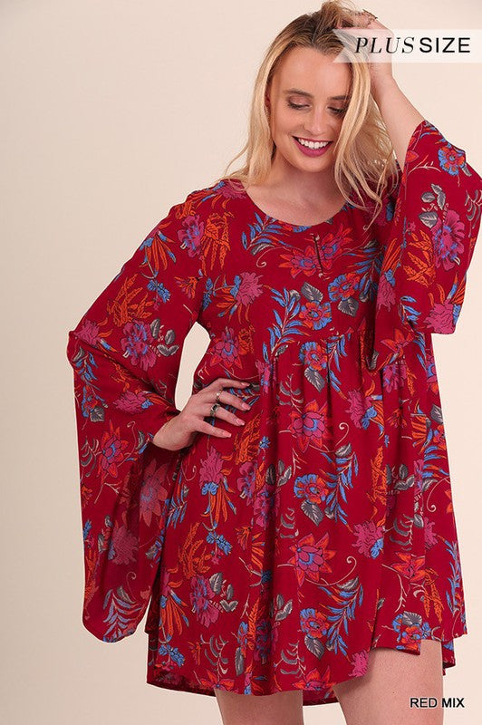 Red Floral Dress with Bell Sleeve by Umgee (Curvy)