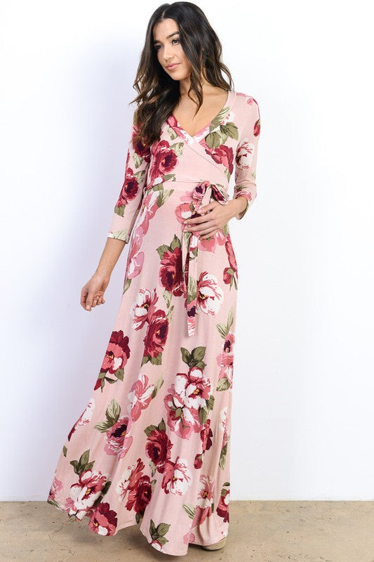 Maternity 3/4 Sleeve Floral Maxi Dress