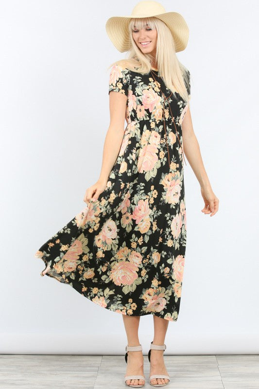 Short Sleeve Black Floral Dress