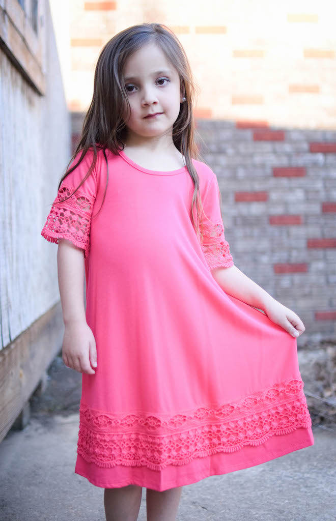 Girls Coral Dress With Crochet Sleeve and Hem