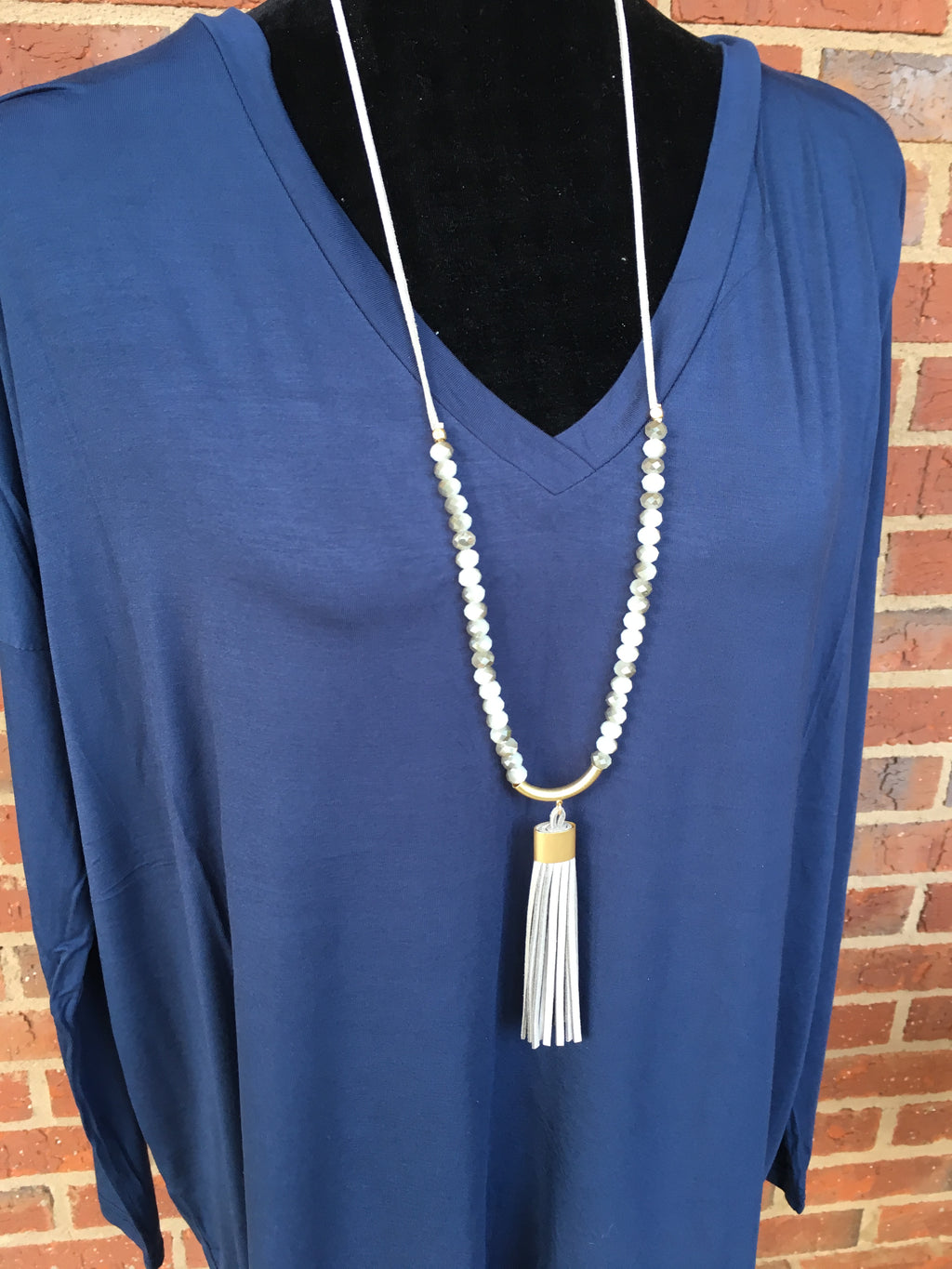 Grey Crecsent Necklace with Leather Tassel