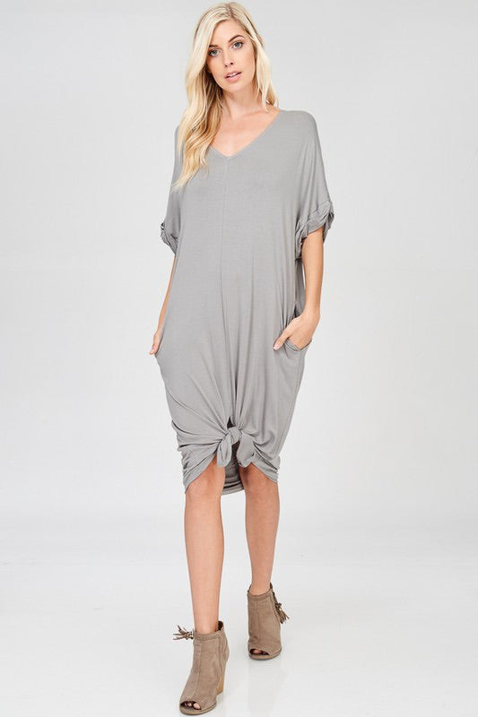 Silver Midi length Knit Dress