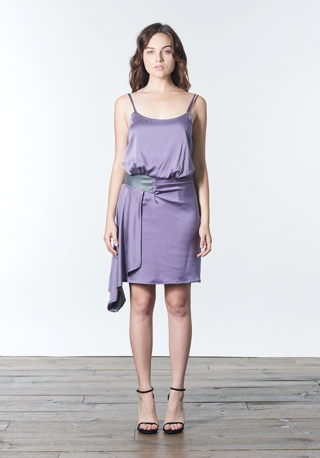 Lavender, stretch silk, fashion forward bridesmaid dress with sideswept draping.