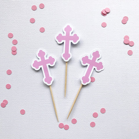Cake - Baptism Cross cupcake toppers