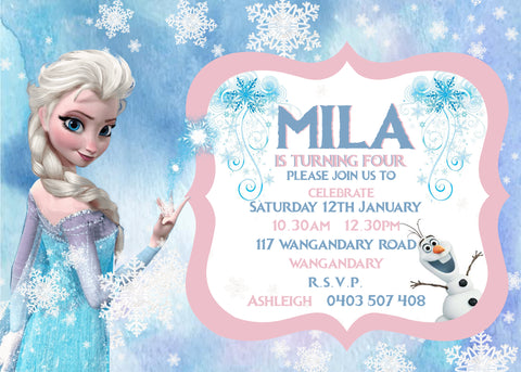 Invite - digital pdf - frozen princess
