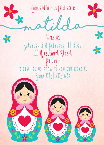 Invite - digital pdf - babushka dolls