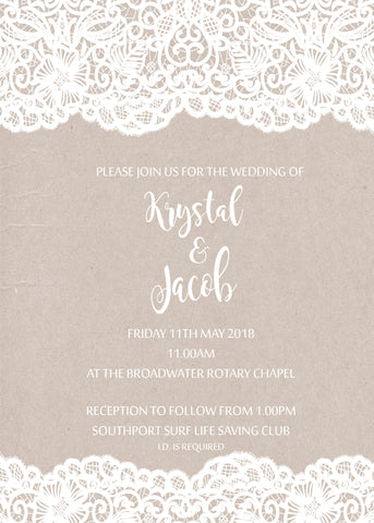 Invite - digital pdf - lace