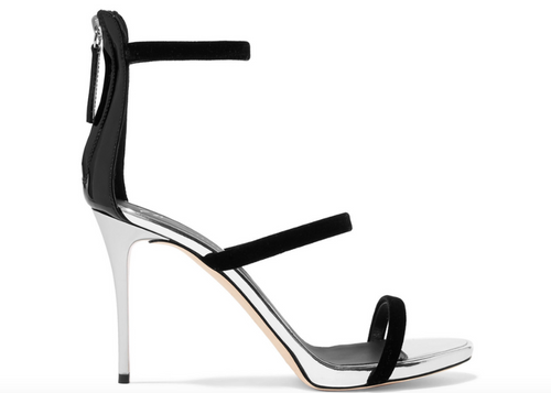 GIUSEPPE ZANOTTI Alien 80 Metallic Leather and Velvet Sandals, Black/ Silver-OZNICO