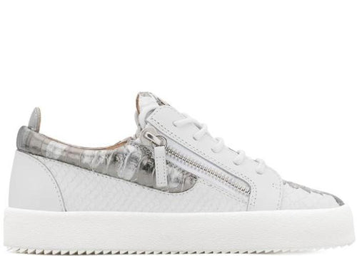 GIUSEPPE ZANOTTI Gail Metallic Low Top Women's Sneaker, White/ Silver-OZNICO