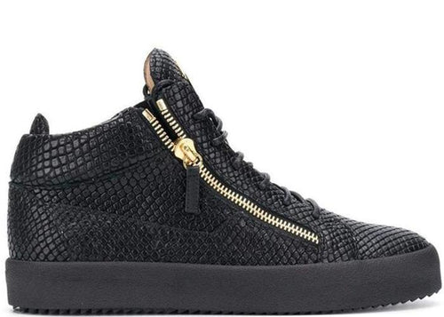 GIUSEPPE ZANOTTI Kriss Lizard-Effect Sneakers, Black-OZNICO