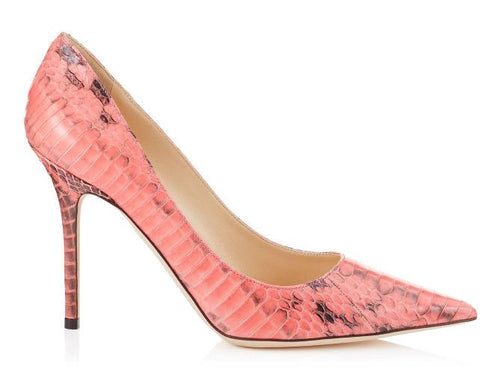 JIMMY CHOO Abel Snakeskin Pointed-Toe Pump, Coral Pink-OZNICO