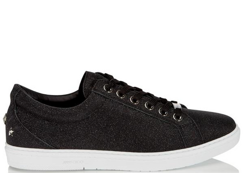 JIMMY CHOO Cash Fine Glitter Leather Low Top Trainers, Black-OZNICO