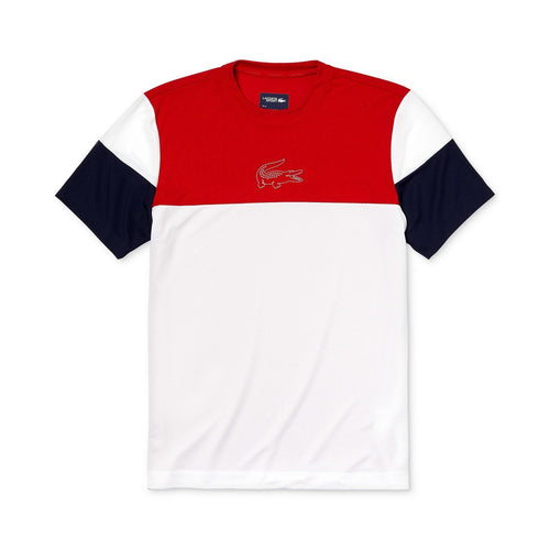 LACOSTE Ultra Dry Moisture-Wicking Color-Blocked Logo Graphic Technical T-Shirt, Red/ White/ Blue-OZNICO