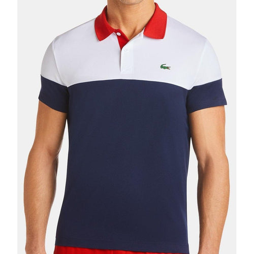 LACOSTE Ultra Dry Moisture-Wicking Color-Blocked Technical Polo, Red/ White/ Blue-OZNICO