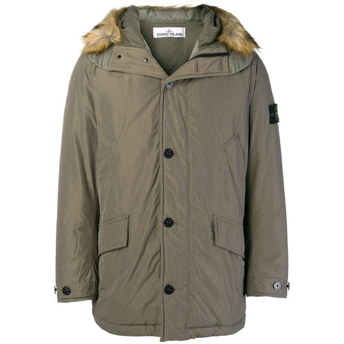 STONE ISLAND Down Hooded Parka, Olive-OZNICO