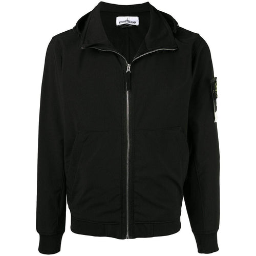 STONE ISLAND Hooded Jacket, Black-OZNICO