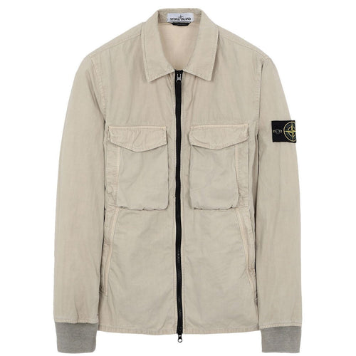 STONE ISLAND 'Old' Dye Treatment Overshirt, Beige-OZNICO
