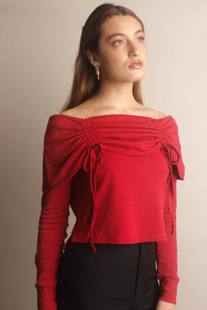 Elise Off-the-Shoulder Top ~ Scarlet