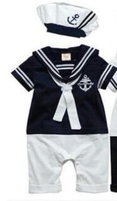Retail New fashion Summer Newborn navy style baby romper suit kids boys girls rompers+hat body summer short-sleeve sailor suit - CelebritystyleFashion.com.au online clothing shop australia