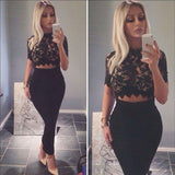 Floral Lace Sheer Crop Top -  - 2