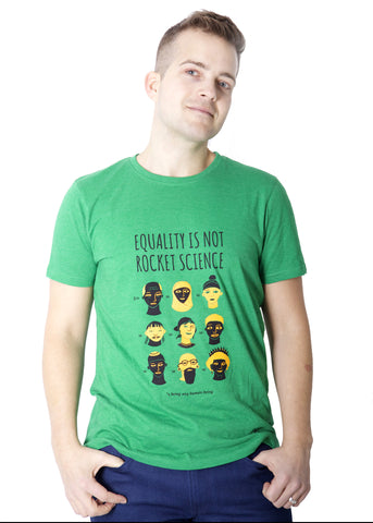 Fair-trade t-shirt promoting racial equality. Made from 100% recycled materials and designed by Origine Ethique.