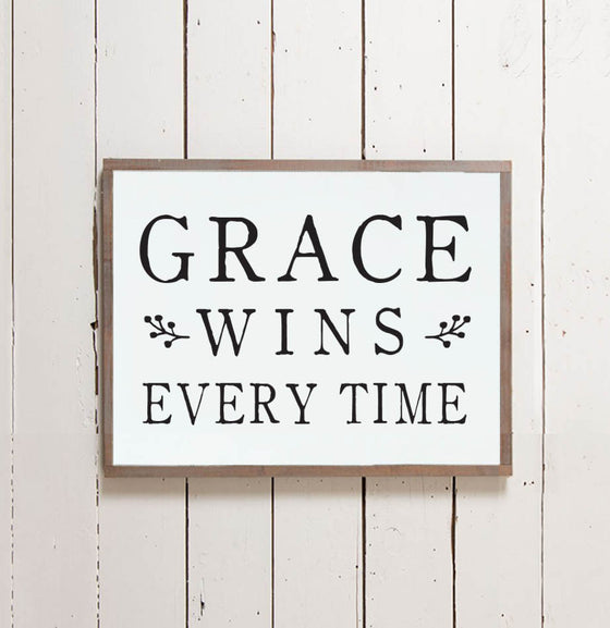 Grace Wins Wall Sign - The Painted Porch Co