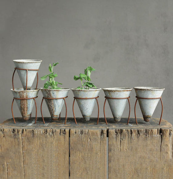 Rustic Metal Cone Flower Pot - The Painted Porch Co