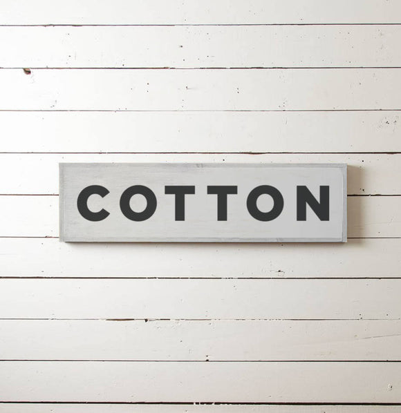 """Cotton"" Wall Sign - The Painted Porch Co"