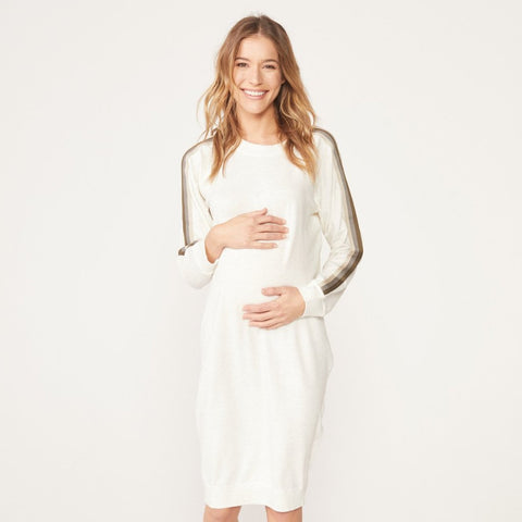 Maternity Supersoft Neutral Stripe Dress