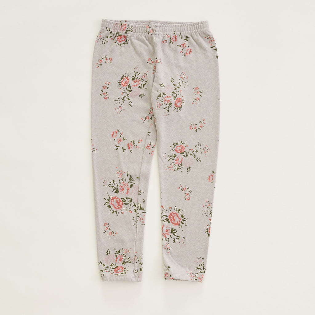 Kids Elastic Waist Sweats With Floral Print