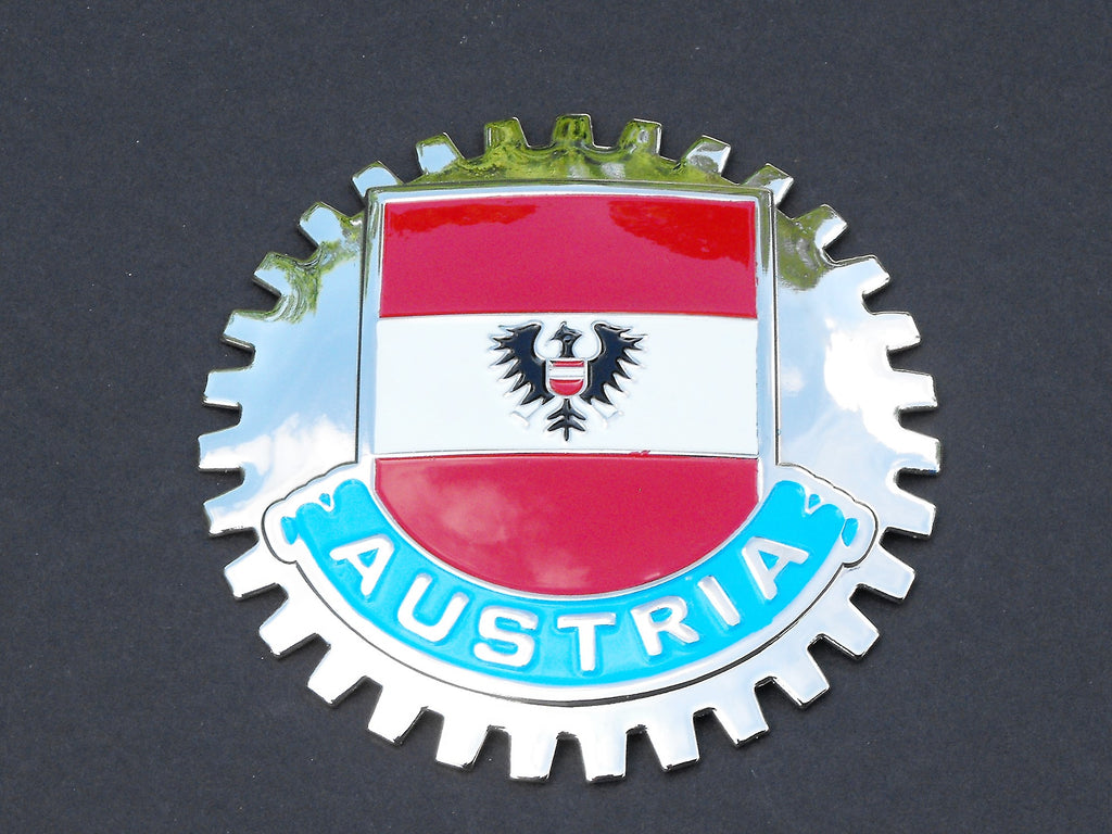 AUSTRIAN FLAG CAR GRILLE BADGE EMBLEM AUSTRIA
