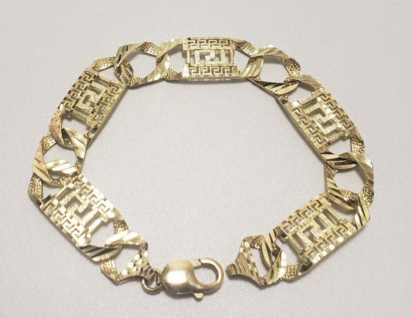 Diamond-Cut Gold Greek Keys Men's Bracelet