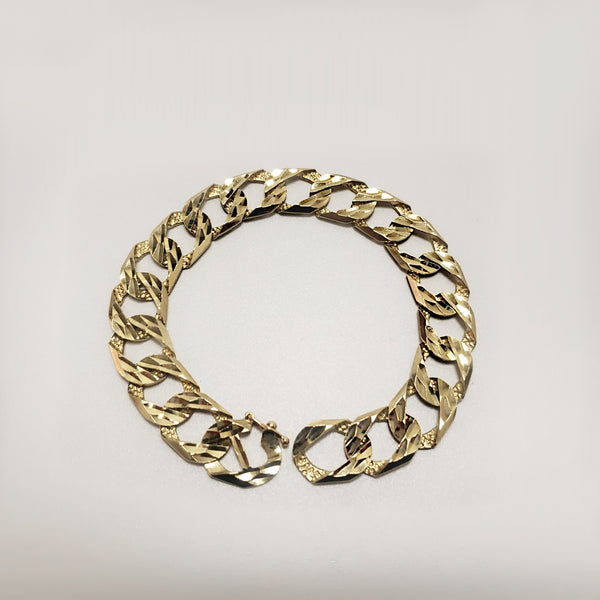 Diamond-Cut Mens Curb Bracelet