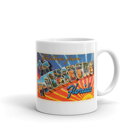 Mug – St Petersburg FL Greetings From Florida Big Large Letter Postcard Retro Travel Gift Souvenir Coffee or Tea Cup - American Yesteryear