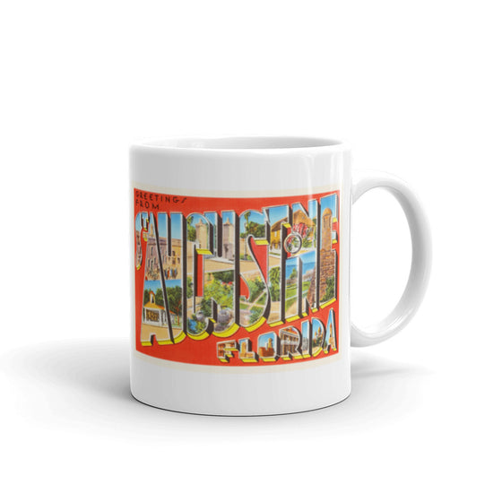 Mug – St Augustine FL Greetings From Florida Big Large Letter Postcard Retro Travel Gift Souvenir Coffee or Tea Cup - American Yesteryear