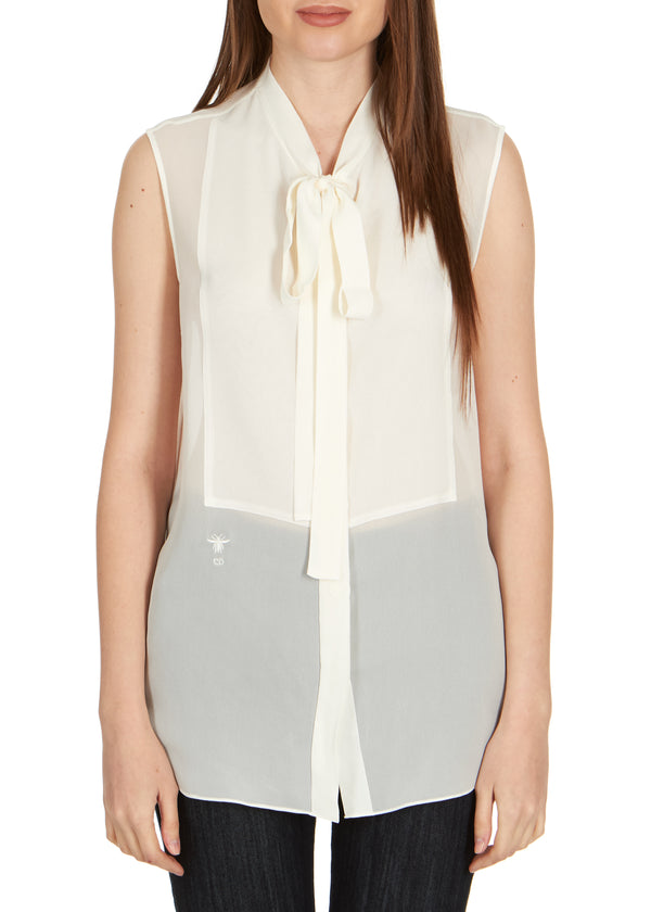 Dior Women's Ivory Silk Neck Tied Front Sleeveless Blouse - Tribeca Fashion House