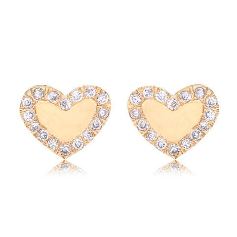 Diamond Border Heart Studs - Bianca Pratt Jewelry