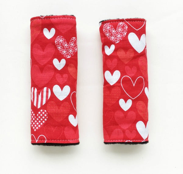 Red Hearts Reversible harness strap covers / shoulder pads