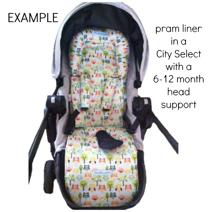 Custom Order Reversible pram liner with head hugger - Baby Jogger City Select