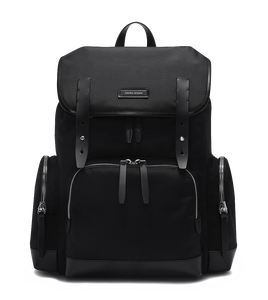 KRIGER Leather-Trimmed Nylon Backpack - L / Black
