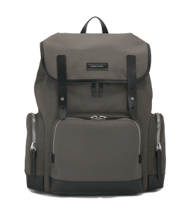 KRIGER Leather-Trimmed Nylon Backpack - L / Grey