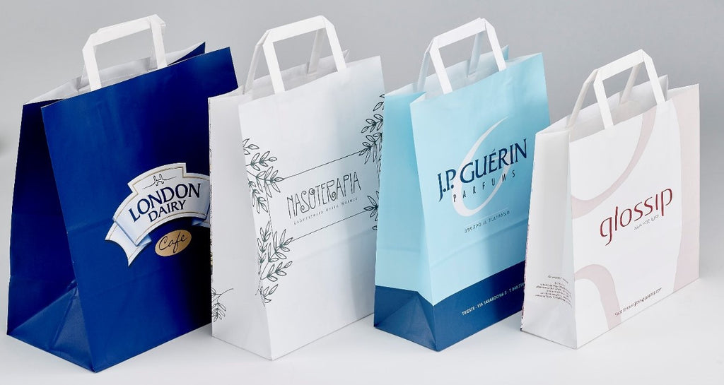 Flat Handle White Paper bags