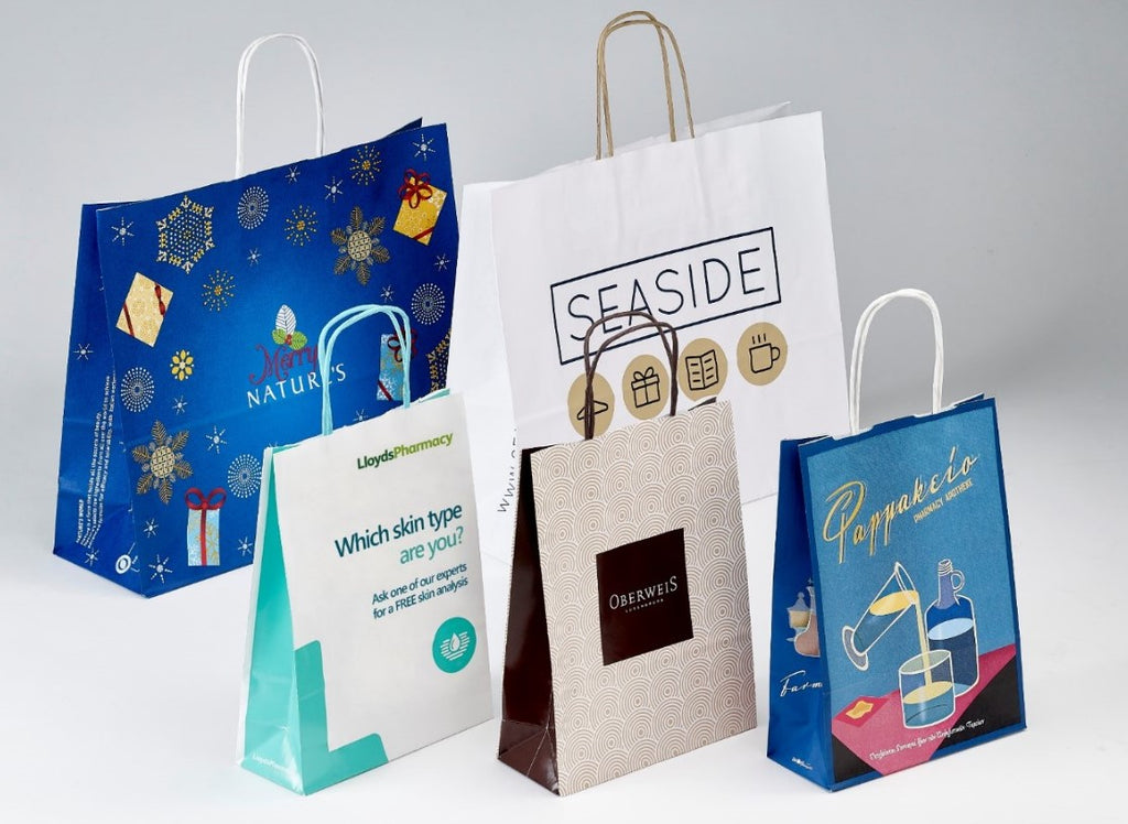 Twisted Handle White Paper bags