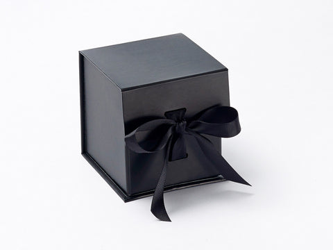Small Black cube Luxury Gift box with magnetic closure, and choice of ribbon (Pack of 12)